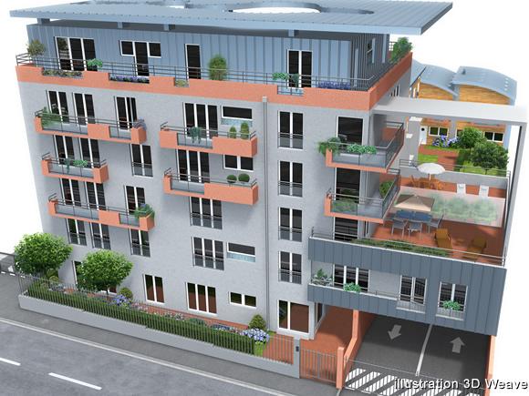 Visualisation d 39 architecture immobilier immeuble en 3d for Facade immeuble moderne